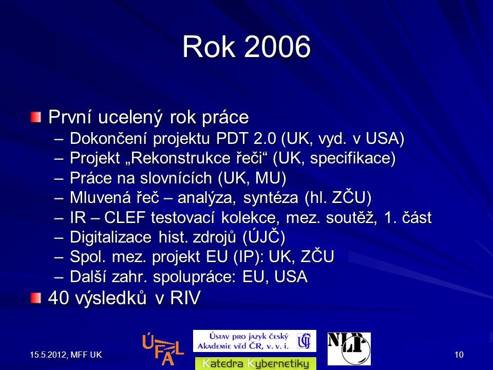 15.5.2012, MFF UK10 Rok 2006 První ucelený rok práce –Dokončení projektu PDT 2.0 (UK, vyd.