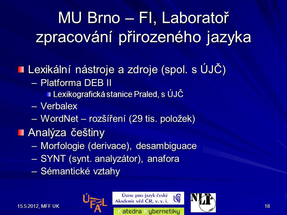 15.5.2012, MFF UK18 MU Brno – FI, Laboratoř zpracování přirozeného jazyka Lexikální nástroje a zdroje (spol.