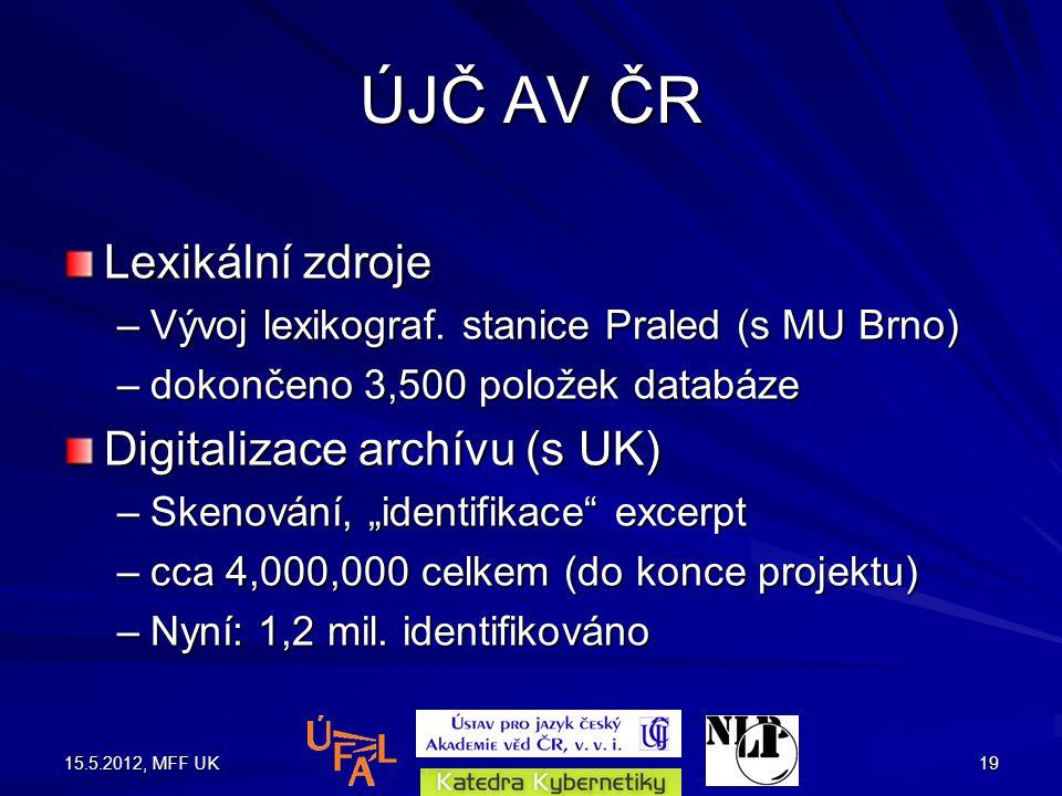 15.5.2012, MFF UK19 ÚJČ AV ČR Lexikální zdroje –Vývoj lexikograf.