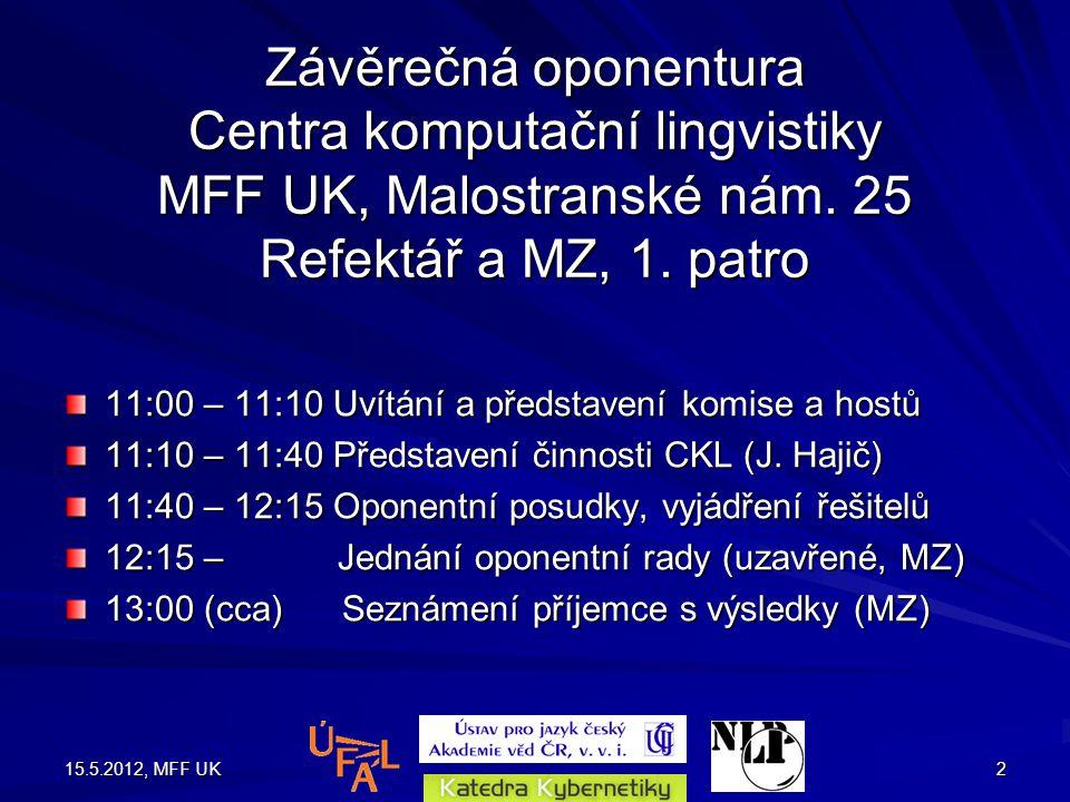 15.5.2012, MFF UK2 Závěrečná oponentura Centra komputační lingvistiky MFF UK, Malostranské nám.