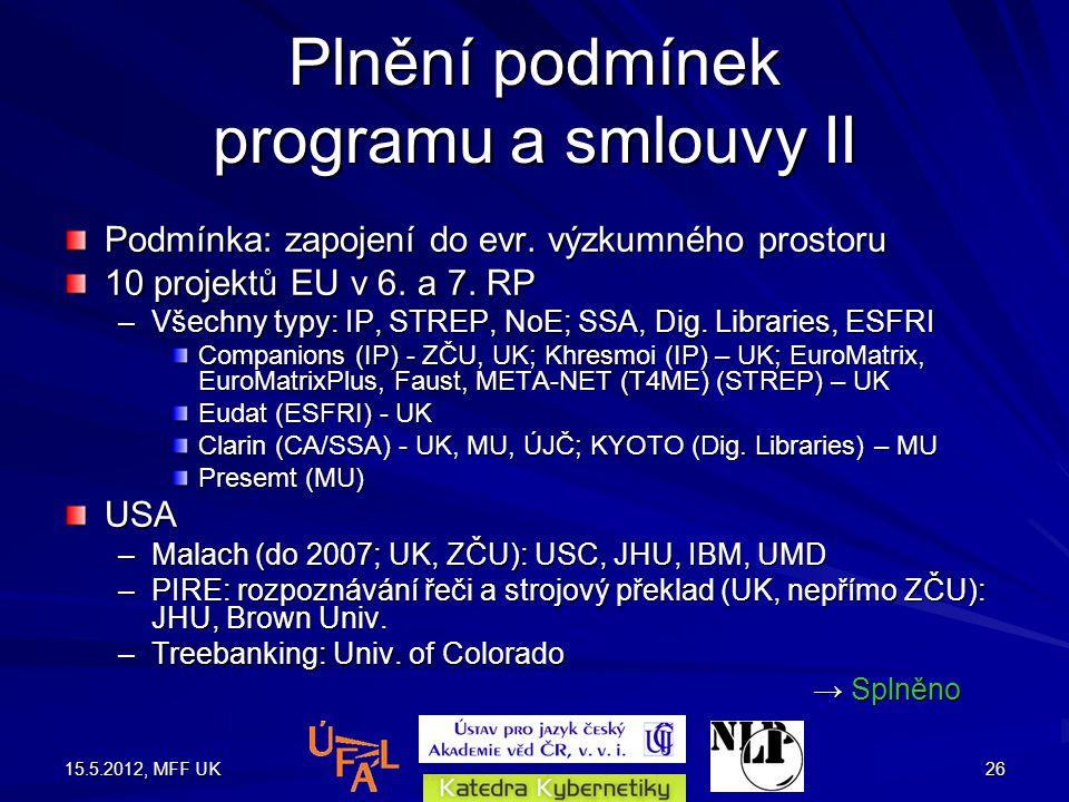 15.5.2012, MFF UK26 Plnění podmínek programu a smlouvy II Podmínka: zapojení do evr.