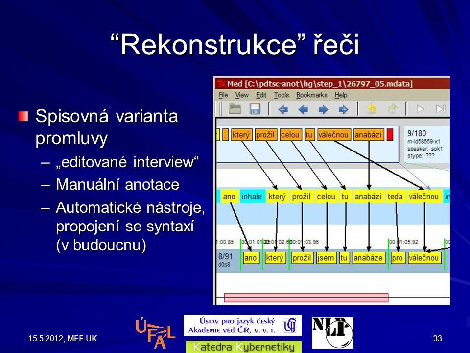 """15.5.2012, MFF UK33 Rekonstrukce řeči Spisovná varianta promluvy –""""editované interview –Manuální anotace –Automatické nástroje, propojení se syntaxí (v budoucnu)"""