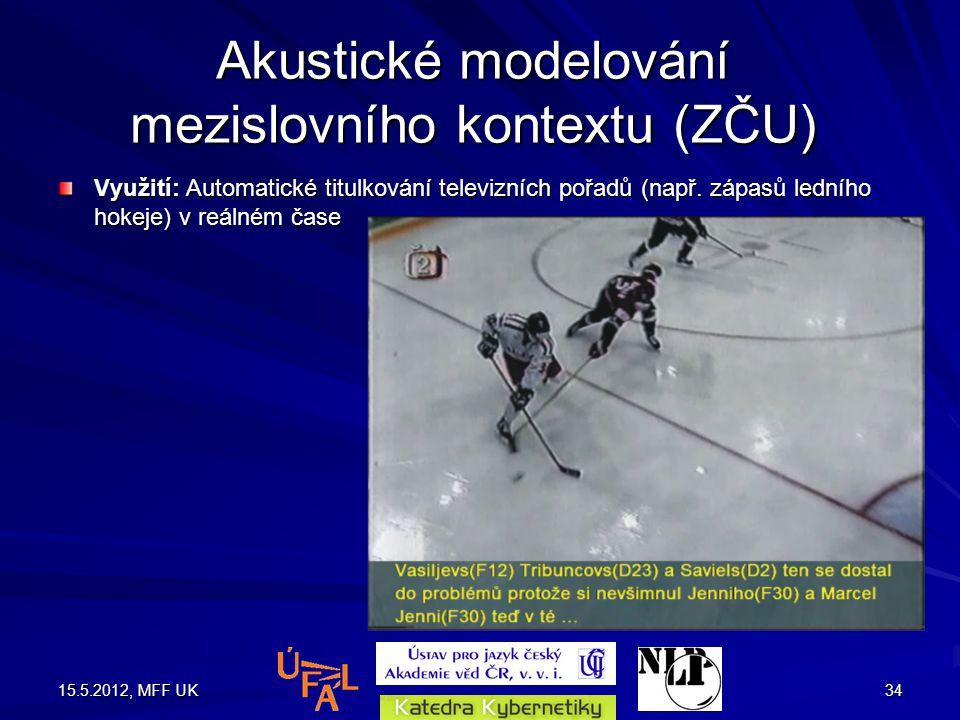 15.5.2012, MFF UK34 Akustické modelování mezislovního kontextu (ZČU) Využití: Automatické titulkování televizních pořadů (např.