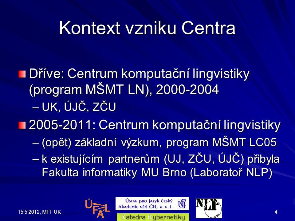 15.5.2012, MFF UK4 Kontext vzniku Centra Dříve: Centrum komputační lingvistiky (program MŠMT LN), 2000-2004 –UK, ÚJČ, ZČU 2005-2011: Centrum komputační lingvistiky –(opět) základní výzkum, program MŠMT LC05 –k existujícím partnerům (UJ, ZČU, ÚJČ) přibyla Fakulta informatiky MU Brno (Laboratoř NLP)