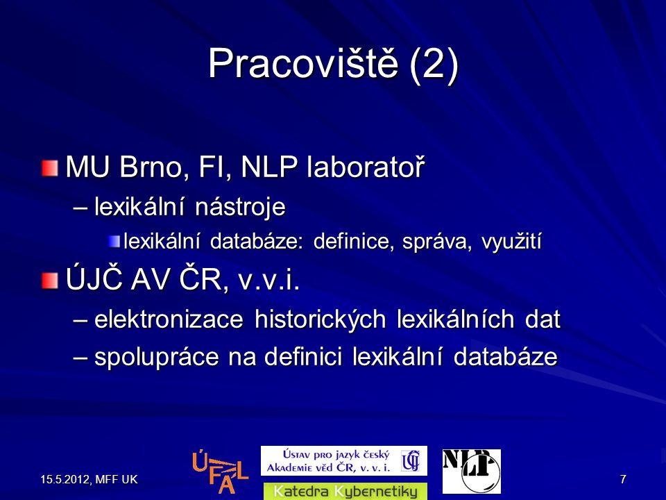 15.5.2012, MFF UK7 Pracoviště (2) MU Brno, FI, NLP laboratoř –lexikální nástroje lexikální databáze: definice, správa, využití ÚJČ AV ČR, v.v.i.