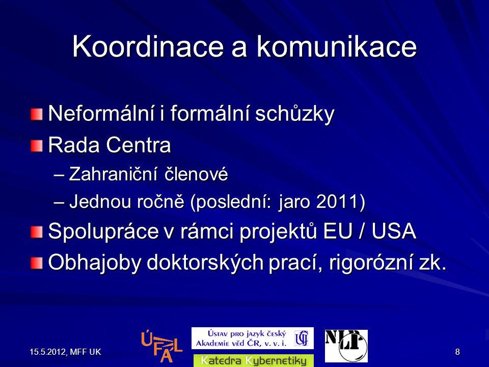 15.5.2012, MFF UK8 Koordinace a komunikace Neformální i formální schůzky Rada Centra –Zahraniční členové –Jednou ročně (poslední: jaro 2011) Spolupráce v rámci projektů EU / USA Obhajoby doktorských prací, rigorózní zk.