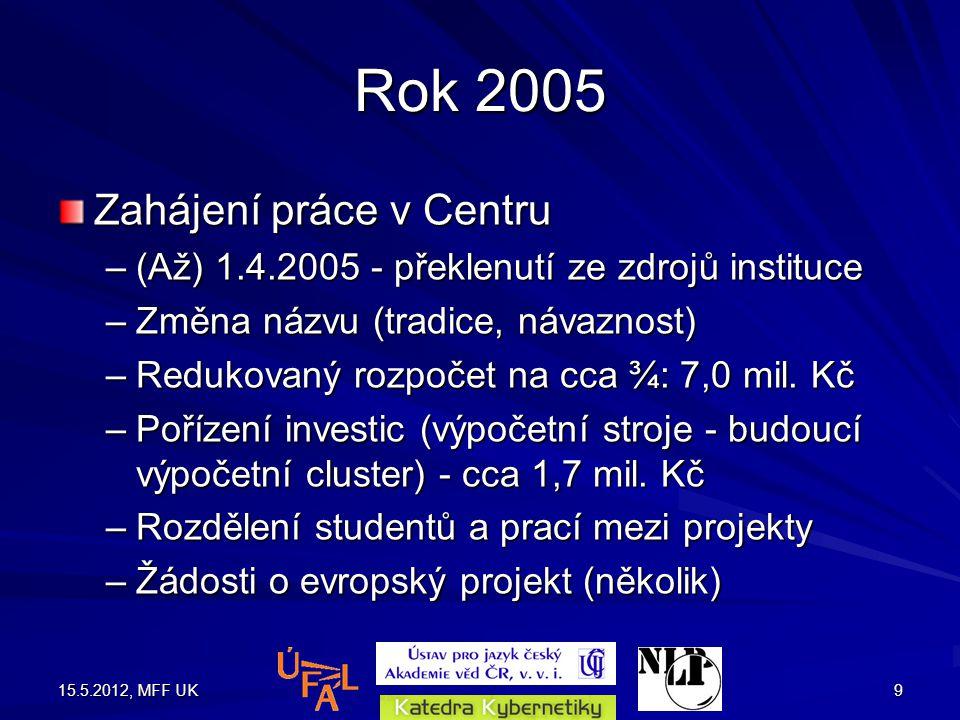 15.5.2012, MFF UK9 Rok 2005 Zahájení práce v Centru –(Až) 1.4.2005 - překlenutí ze zdrojů instituce –Změna názvu (tradice, návaznost) –Redukovaný rozpočet na cca ¾: 7,0 mil.