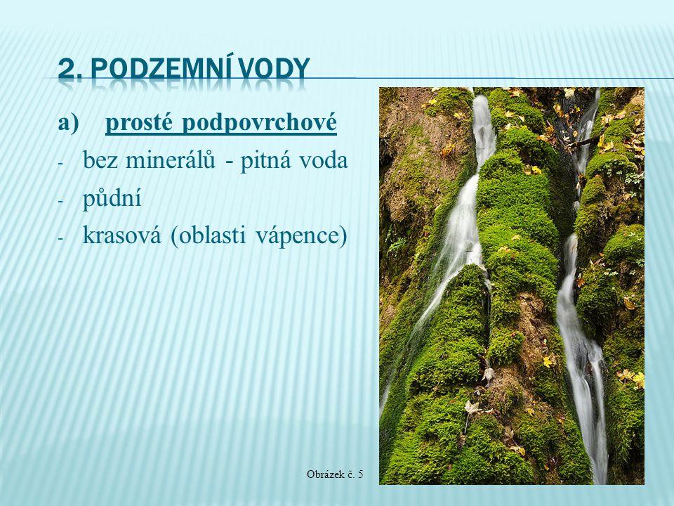 a) prosté podpovrchové - bez minerálů - pitná voda - půdní - krasová (oblasti vápence) Obrázek č. 5