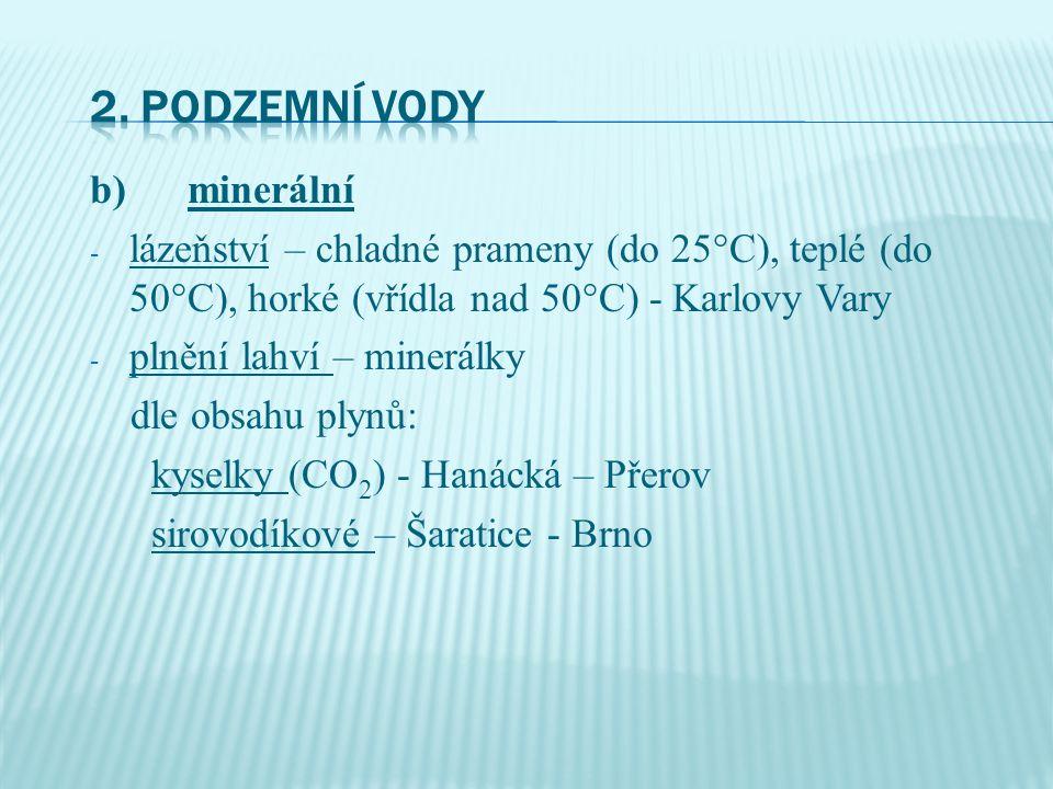 b) minerální - lázeňství – chladné prameny (do 25°C), teplé (do 50°C), horké (vřídla nad 50°C) - Karlovy Vary - plnění lahví – minerálky dle obsahu plynů: kyselky (CO 2 ) - Hanácká – Přerov sirovodíkové – Šaratice - Brno