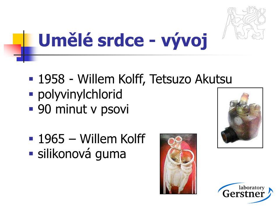 Umělé srdce - vývoj  1958 - Willem Kolff, Tetsuzo Akutsu  polyvinylchlorid  90 minut v psovi  1965 – Willem Kolff  silikonová guma