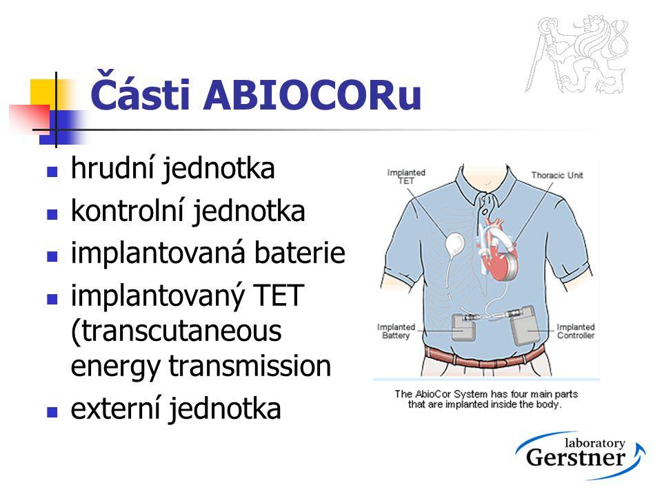 Části ABIOCORu hrudní jednotka kontrolní jednotka implantovaná baterie implantovaný TET (transcutaneous energy transmission externí jednotka