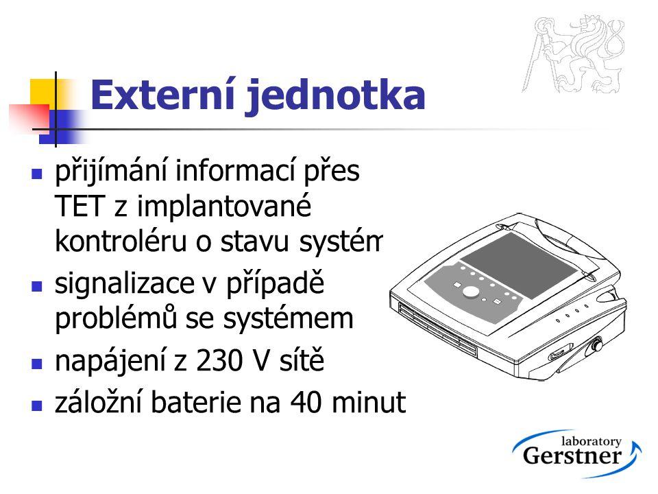 Externí jednotka přijímání informací přes TET z implantované kontroléru o stavu systému signalizace v případě problémů se systémem napájení z 230 V sí