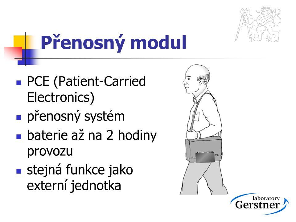 Přenosný modul PCE (Patient-Carried Electronics) přenosný systém baterie až na 2 hodiny provozu stejná funkce jako externí jednotka