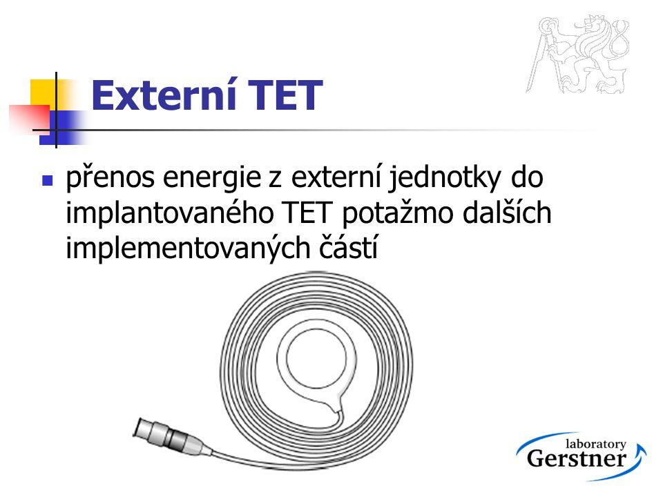 Externí TET přenos energie z externí jednotky do implantovaného TET potažmo dalších implementovaných částí