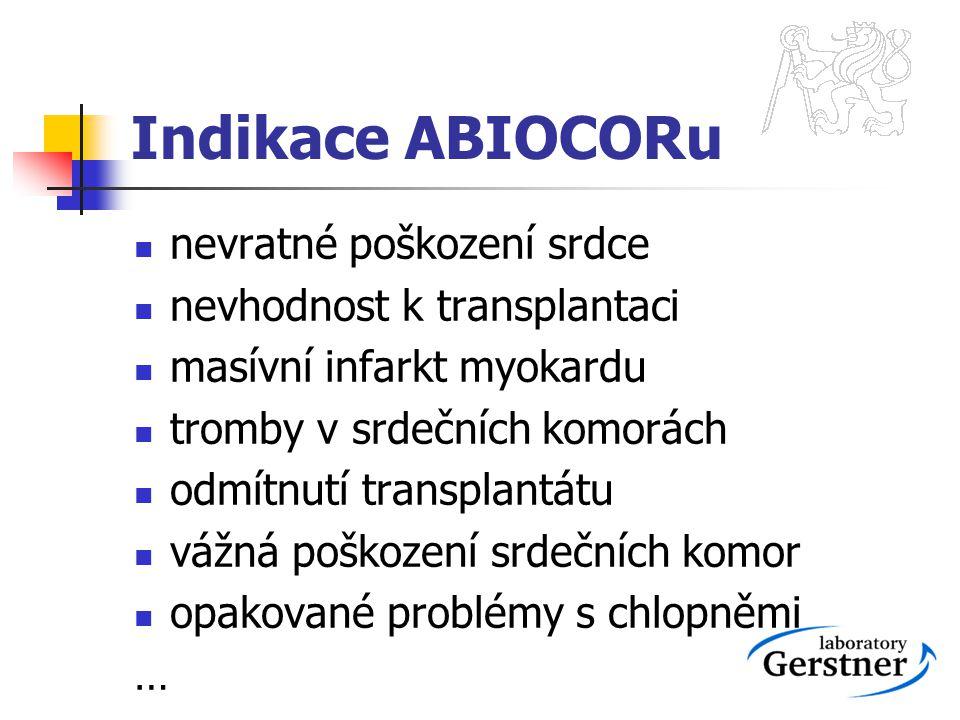 Indikace ABIOCORu nevratné poškození srdce nevhodnost k transplantaci masívní infarkt myokardu tromby v srdečních komorách odmítnutí transplantátu váž