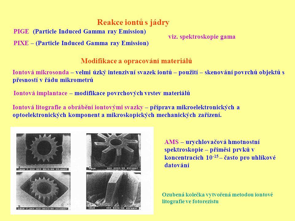 Reakce iontů s jádry PIGE (Particle Induced Gamma ray Emission) PIXE – (Particle Induced Gamma ray Emission) Iontová litografie a obrábění iontovými svazky – příprava mikroelektronických a optoelektronických komponent a mikroskopických mechanických zařízení.