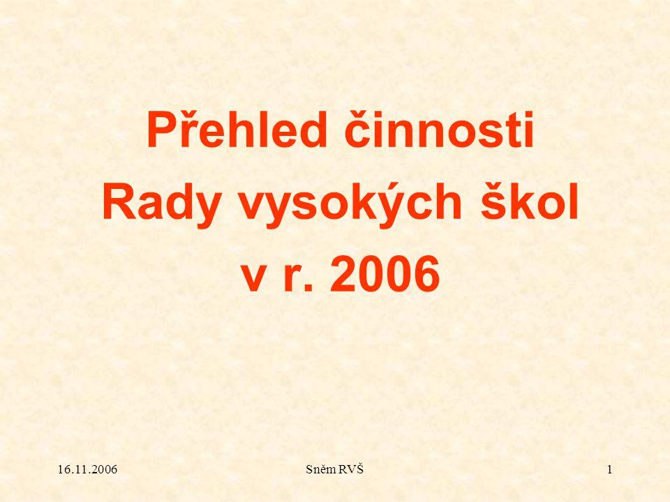 16.11.2006Sněm RVŠ1 Přehled činnosti Rady vysokých škol v r. 2006