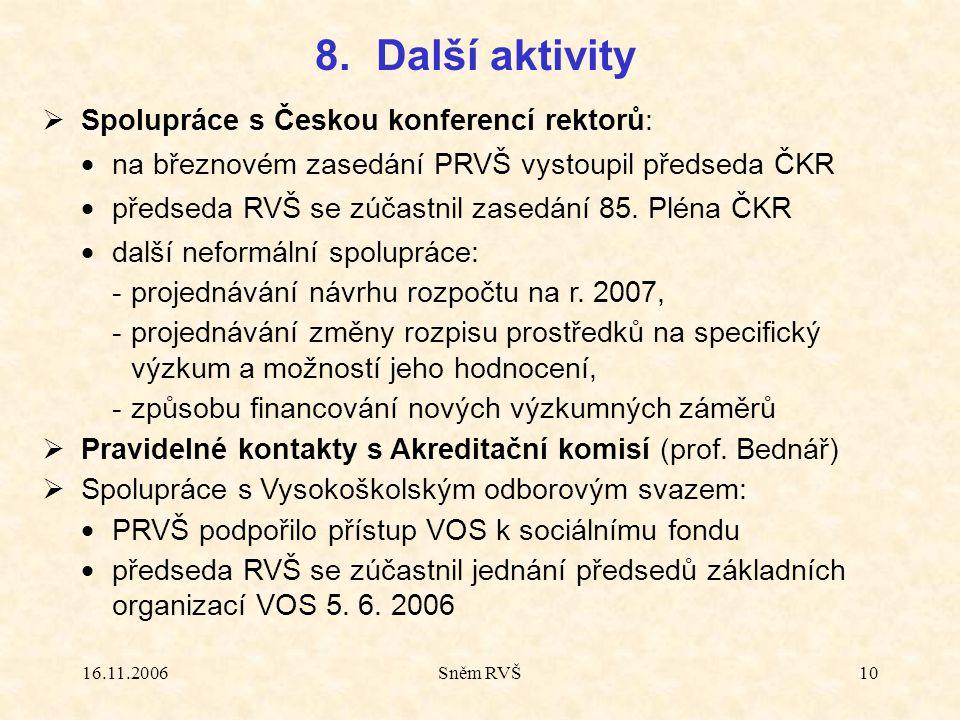 16.11.2006Sněm RVŠ10  Spolupráce s Českou konferencí rektorů:  na březnovém zasedání PRVŠ vystoupil předseda ČKR  předseda RVŠ se zúčastnil zasedání 85.