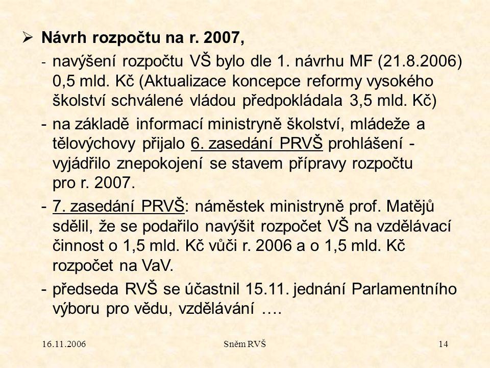 16.11.2006Sněm RVŠ14  Návrh rozpočtu na r. 2007, - navýšení rozpočtu VŠ bylo dle 1. návrhu MF (21.8.2006) 0,5 mld. Kč (Aktualizace koncepce reformy v