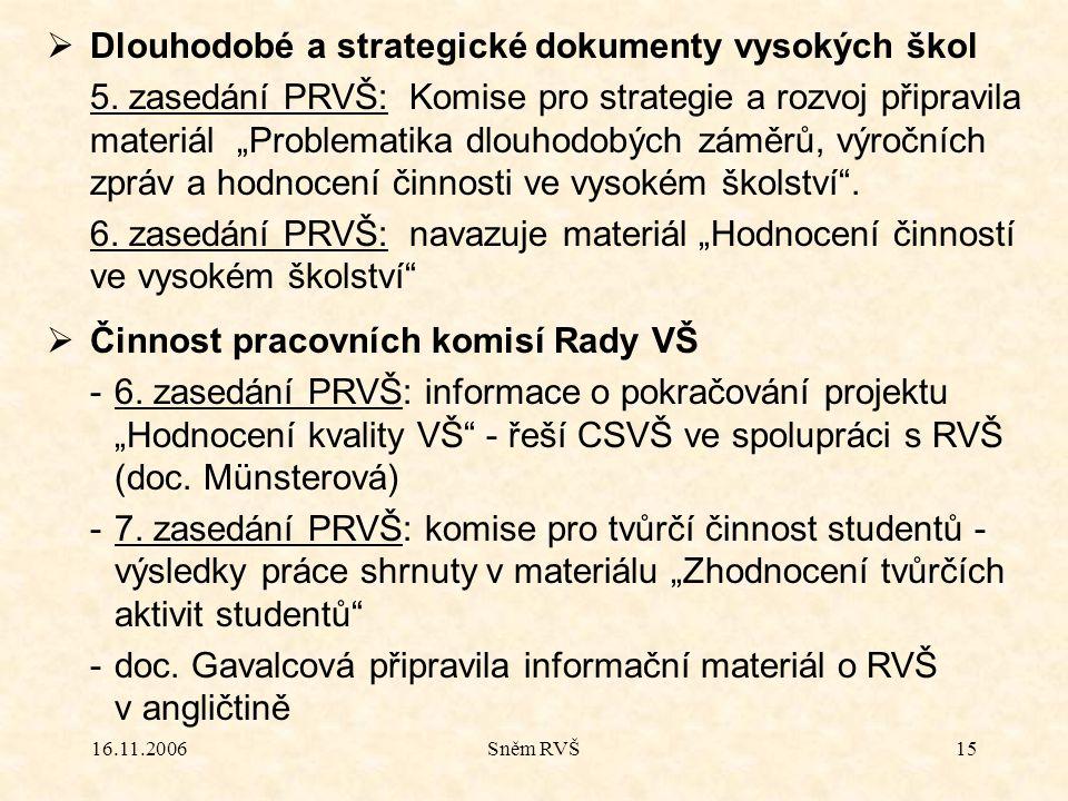 """16.11.2006Sněm RVŠ15  Dlouhodobé a strategické dokumenty vysokých škol 5. zasedání PRVŠ: Komise pro strategie a rozvoj připravila materiál """"Problemat"""