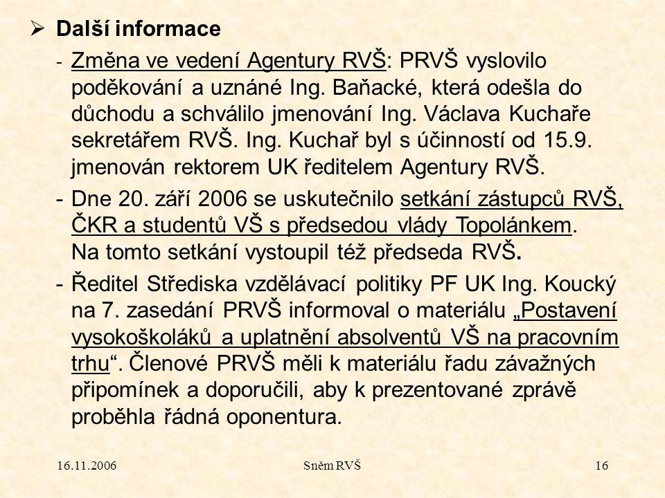 16.11.2006Sněm RVŠ16  Další informace - Změna ve vedení Agentury RVŠ: PRVŠ vyslovilo poděkování a uznáné Ing.