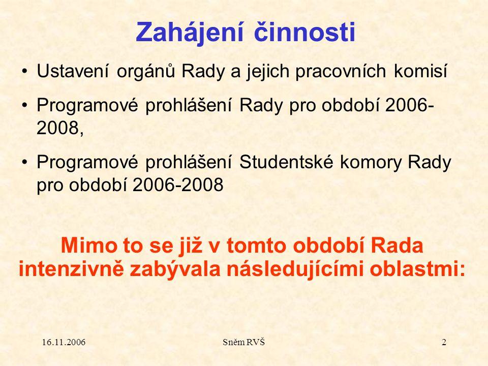 16.11.2006Sněm RVŠ2 Zahájení činnosti Ustavení orgánů Rady a jejich pracovních komisí Programové prohlášení Rady pro období 2006 2008, Programové pro
