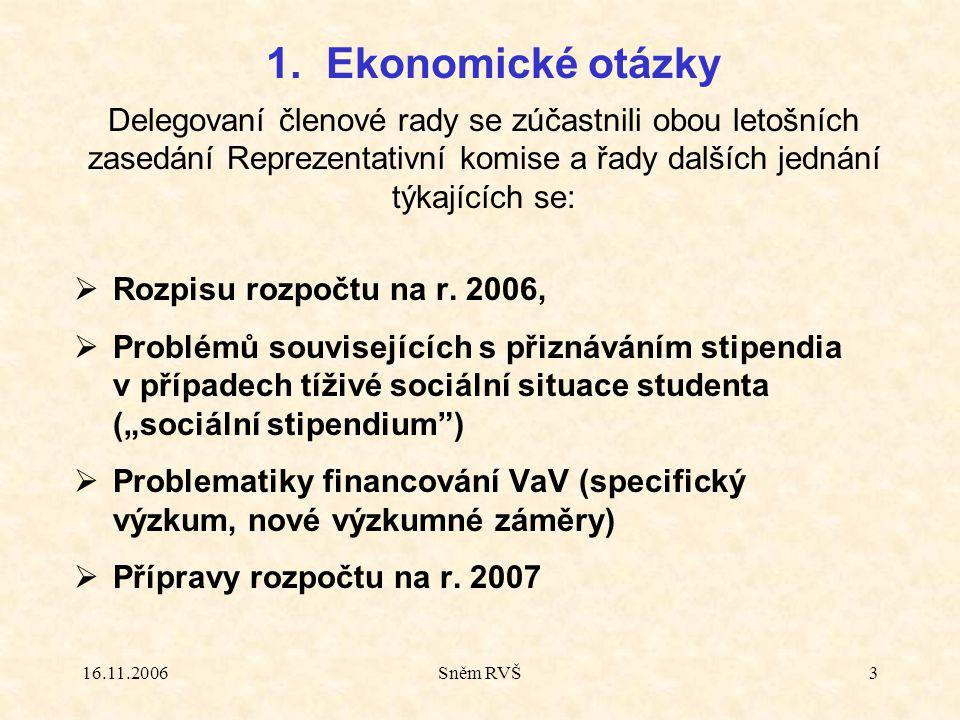 """16.11.2006Sněm RVŠ3  Rozpisu rozpočtu na r. 2006,  Problémů souvisejících s přiznáváním stipendia v případech tíživé sociální situace studenta (""""soc"""