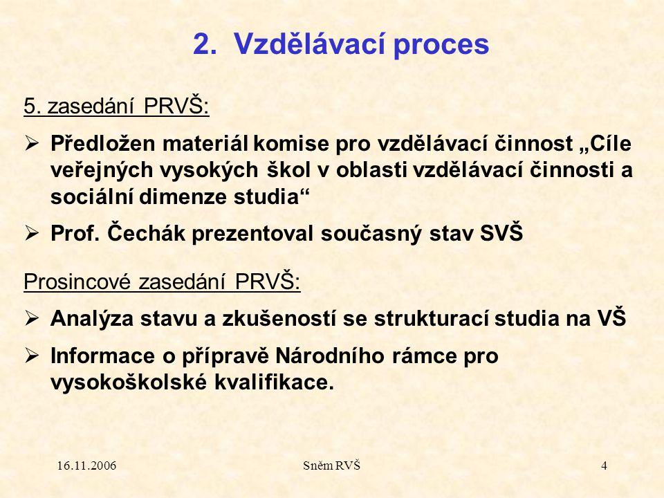 """16.11.2006Sněm RVŠ4 5. zasedání PRVŠ:  Předložen materiál komise pro vzdělávací činnost """"Cíle veřejných vysokých škol v oblasti vzdělávací činnosti a"""