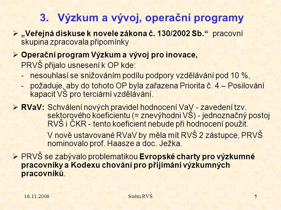 """16.11.2006Sněm RVŠ5  """"Veřejná diskuse k novele zákona č. 130/2002 Sb."""" pracovní skupina zpracovala připomínky  Operační program Výzkum a vývoj pro i"""