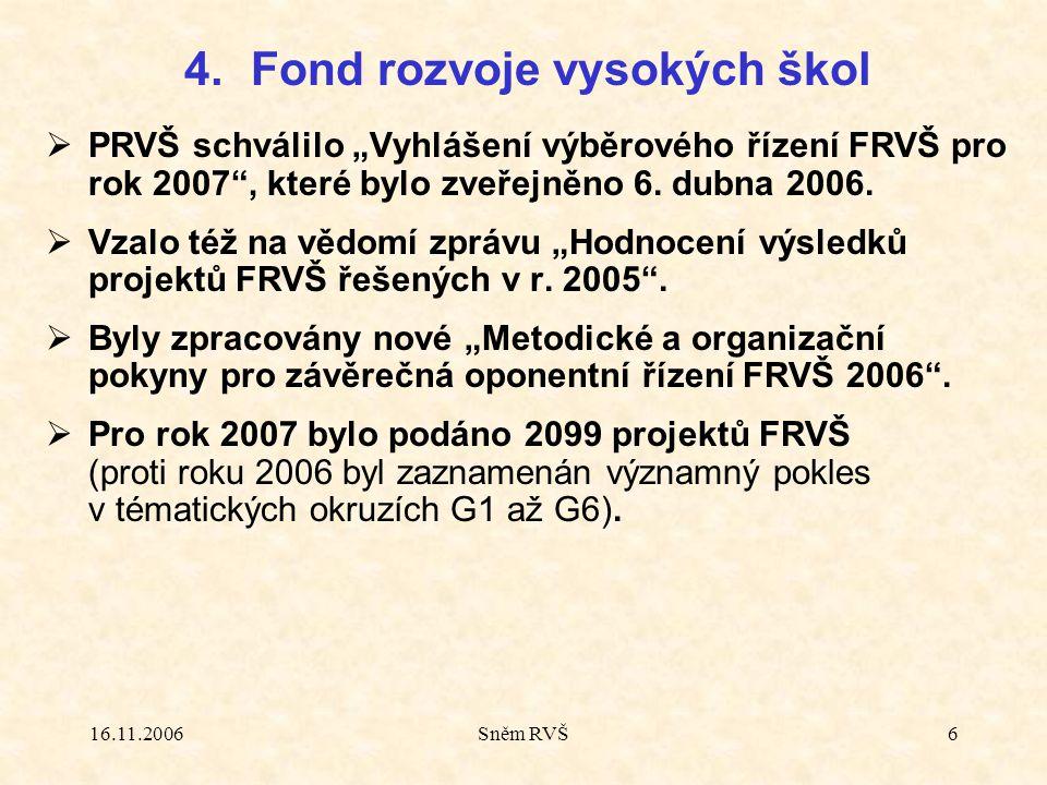 """16.11.2006Sněm RVŠ6  PRVŠ schválilo """"Vyhlášení výběrového řízení FRVŠ pro rok 2007"""", které bylo zveřejněno 6. dubna 2006.  Vzalo též na vědomí zpráv"""