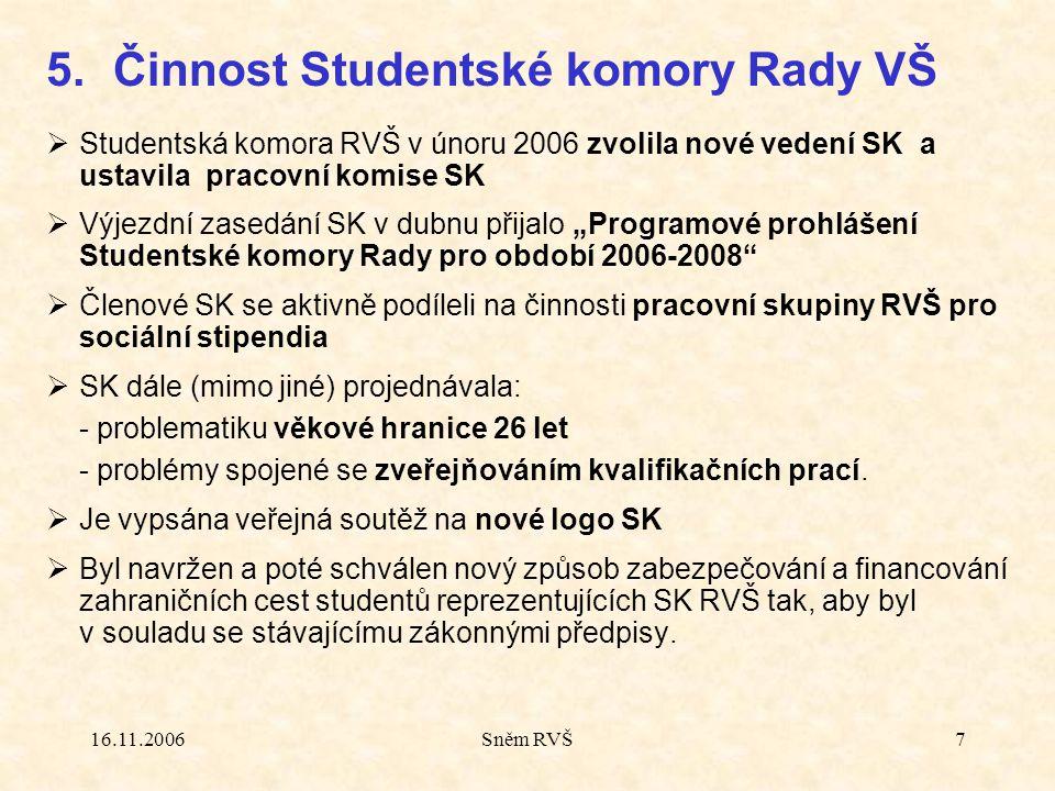 """16.11.2006Sněm RVŠ7  Studentská komora RVŠ v únoru 2006 zvolila nové vedení SK a ustavila pracovní komise SK  Výjezdní zasedání SK v dubnu přijalo """""""