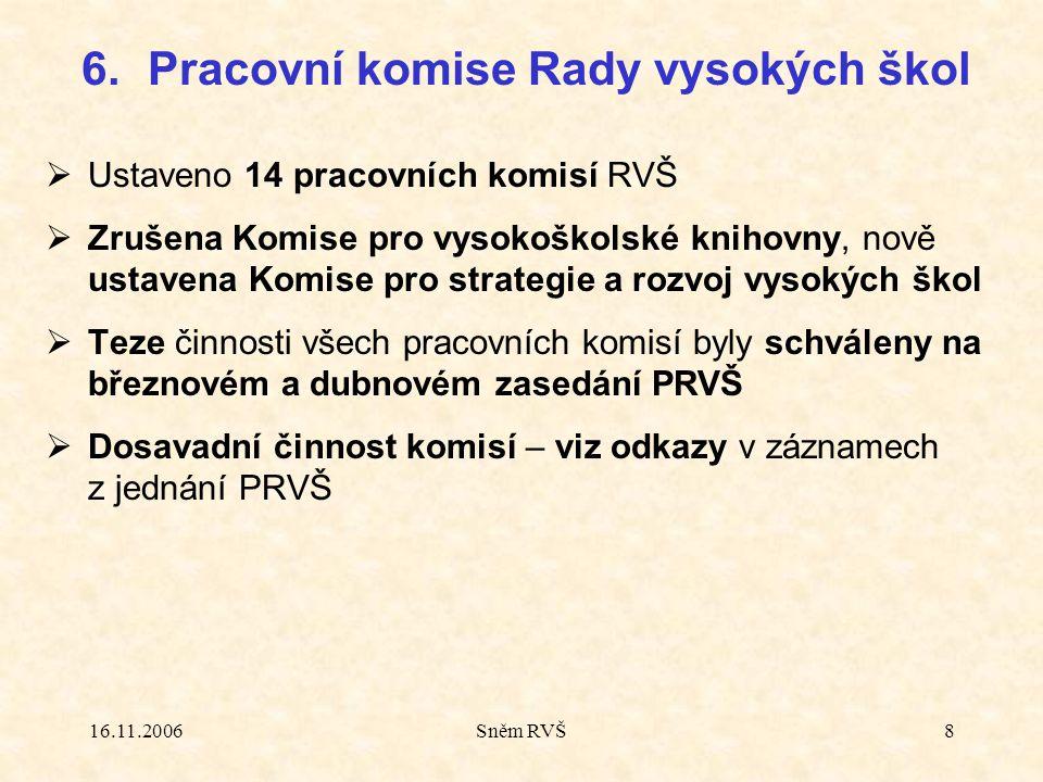 16.11.2006Sněm RVŠ8  Ustaveno 14 pracovních komisí RVŠ  Zrušena Komise pro vysokoškolské knihovny, nově ustavena Komise pro strategie a rozvoj vysokých škol  Teze činnosti všech pracovních komisí byly schváleny na březnovém a dubnovém zasedání PRVŠ  Dosavadní činnost komisí – viz odkazy v záznamech z jednání PRVŠ 6.Pracovní komise Rady vysokých škol