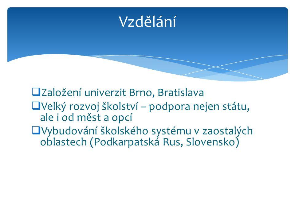  Založení univerzit Brno, Bratislava  Velký rozvoj školství – podpora nejen státu, ale i od měst a opcí  Vybudování školského systému v zaostalých