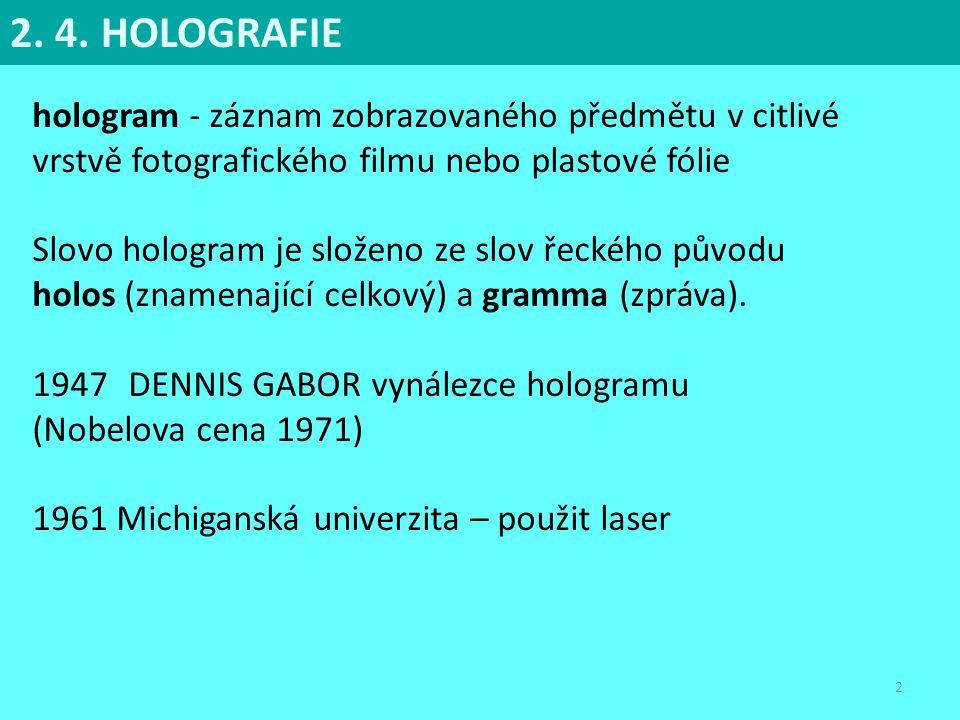 2 hologram - záznam zobrazovaného předmětu v citlivé vrstvě fotografického filmu nebo plastové fólie Slovo hologram je složeno ze slov řeckého původu
