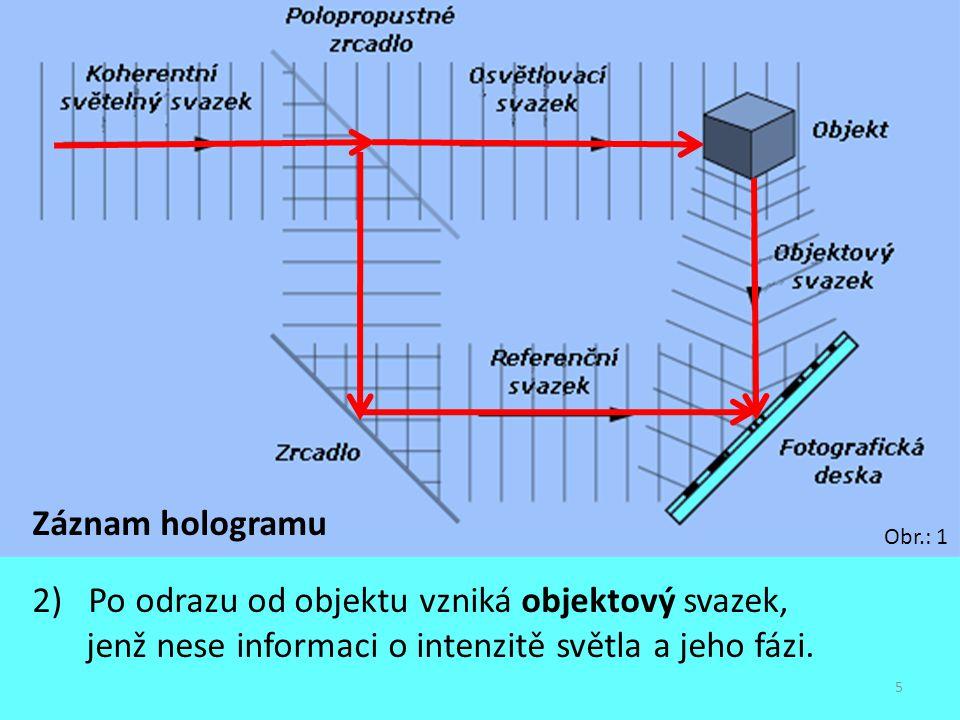 5 Záznam hologramu 2) Po odrazu od objektu vzniká objektový svazek, jenž nese informaci o intenzitě světla a jeho fázi. Obr.: 1