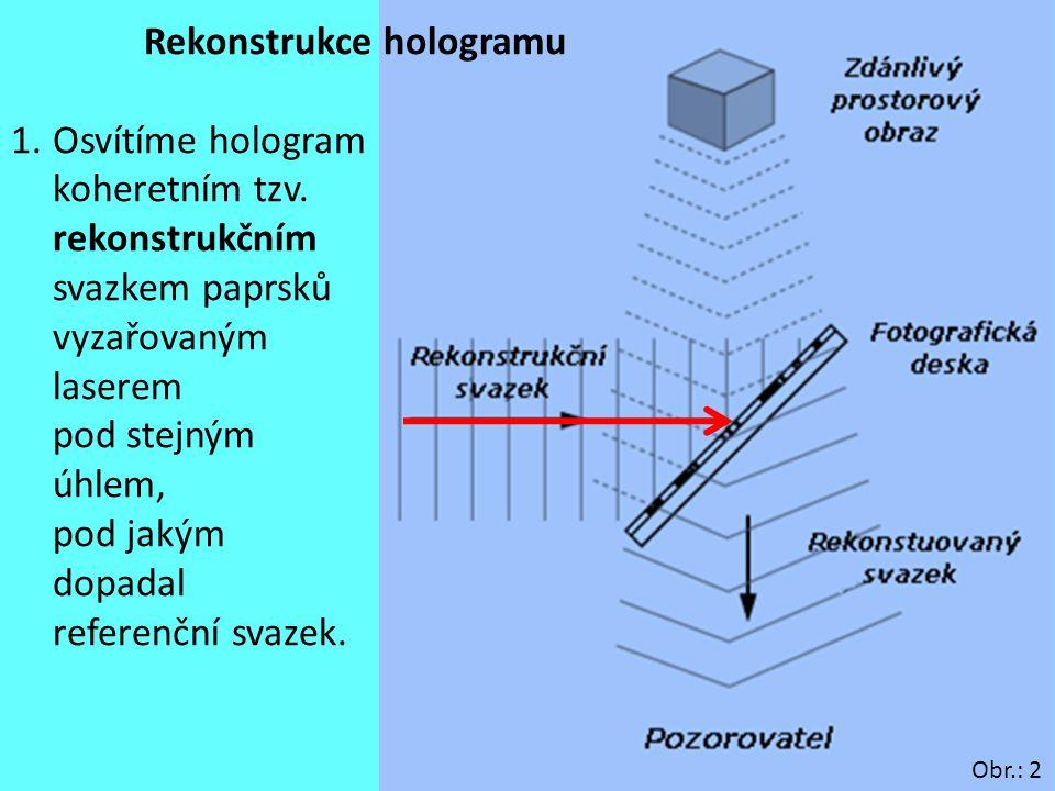 8 Rekonstrukce hologramu 1.Osvítíme hologram koheretním tzv. rekonstrukčním svazkem paprsků vyzařovaným laserem pod stejným úhlem, pod jakým dopadal r