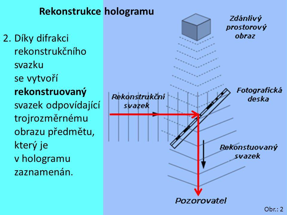 9 Rekonstrukce hologramu 2.Díky difrakci rekonstrukčního svazku se vytvoří rekonstruovaný svazek odpovídající trojrozměrnému obrazu předmětu, který je
