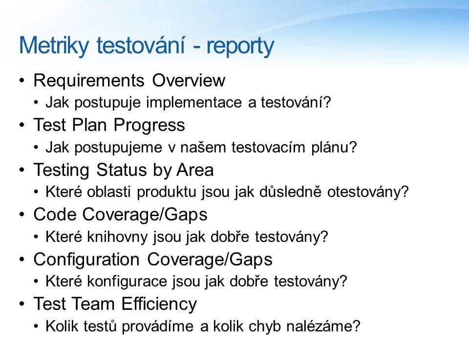 Metriky testování - reporty Requirements Overview Jak postupuje implementace a testování.