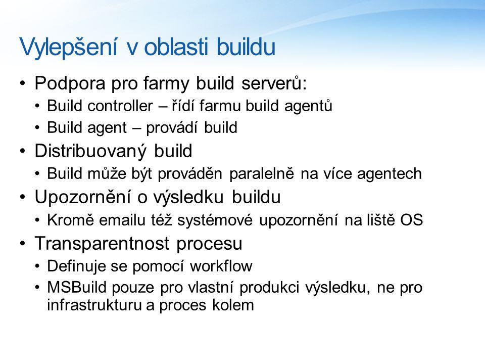 Vylepšení v oblasti buildu Podpora pro farmy build serverů: Build controller – řídí farmu build agentů Build agent – provádí build Distribuovaný build Build může být prováděn paralelně na více agentech Upozornění o výsledku buildu Kromě emailu též systémové upozornění na liště OS Transparentnost procesu Definuje se pomocí workflow MSBuild pouze pro vlastní produkci výsledku, ne pro infrastrukturu a proces kolem