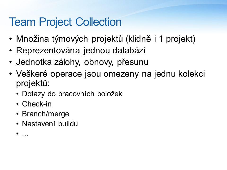 Team Project Collection Množina týmových projektů (klidně i 1 projekt) Reprezentována jednou databází Jednotka zálohy, obnovy, přesunu Veškeré operace jsou omezeny na jednu kolekci projektů: Dotazy do pracovních položek Check-in Branch/merge Nastavení buildu...