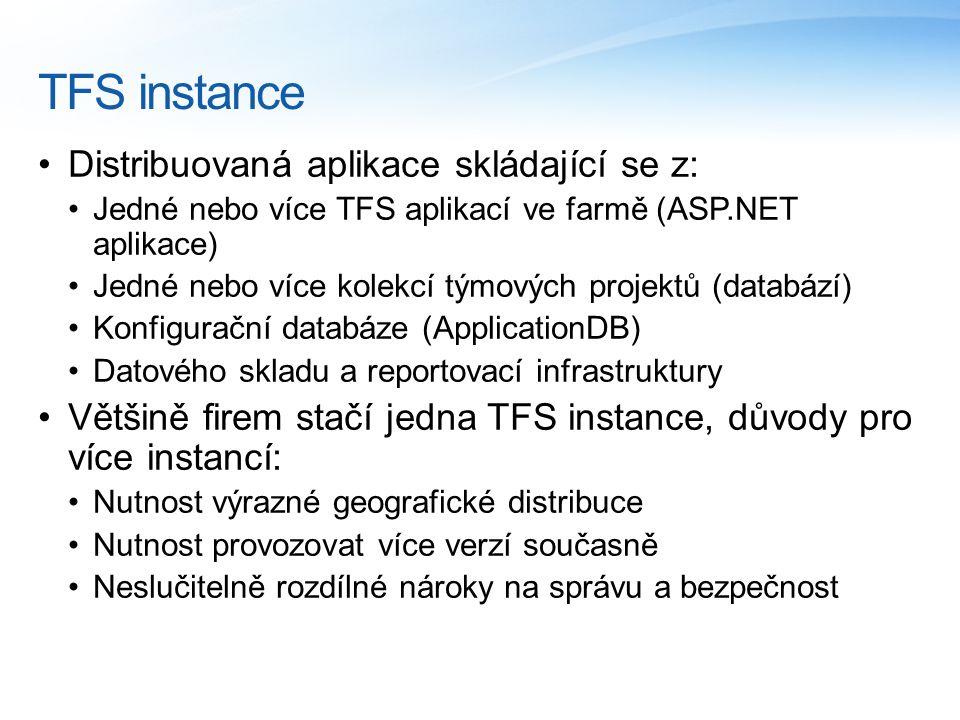 TFS instance Distribuovaná aplikace skládající se z: Jedné nebo více TFS aplikací ve farmě (ASP.NET aplikace) Jedné nebo více kolekcí týmových projektů (databází) Konfigurační databáze (ApplicationDB) Datového skladu a reportovací infrastruktury Většině firem stačí jedna TFS instance, důvody pro více instancí: Nutnost výrazné geografické distribuce Nutnost provozovat více verzí současně Neslučitelně rozdílné nároky na správu a bezpečnost