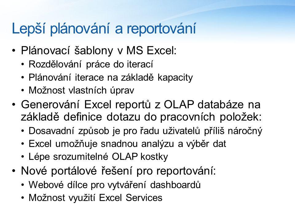 Lepší plánování a reportování Plánovací šablony v MS Excel: Rozdělování práce do iterací Plánování iterace na základě kapacity Možnost vlastních úprav Generování Excel reportů z OLAP databáze na základě definice dotazu do pracovních položek: Dosavadní způsob je pro řadu uživatelů příliš náročný Excel umožňuje snadnou analýzu a výběr dat Lépe srozumitelné OLAP kostky Nové portálové řešení pro reportování: Webové dílce pro vytváření dashboardů Možnost využití Excel Services