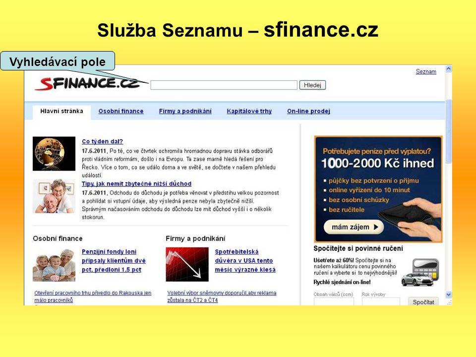 Služba Seznamu – sfinance.cz Vyhledávací pole
