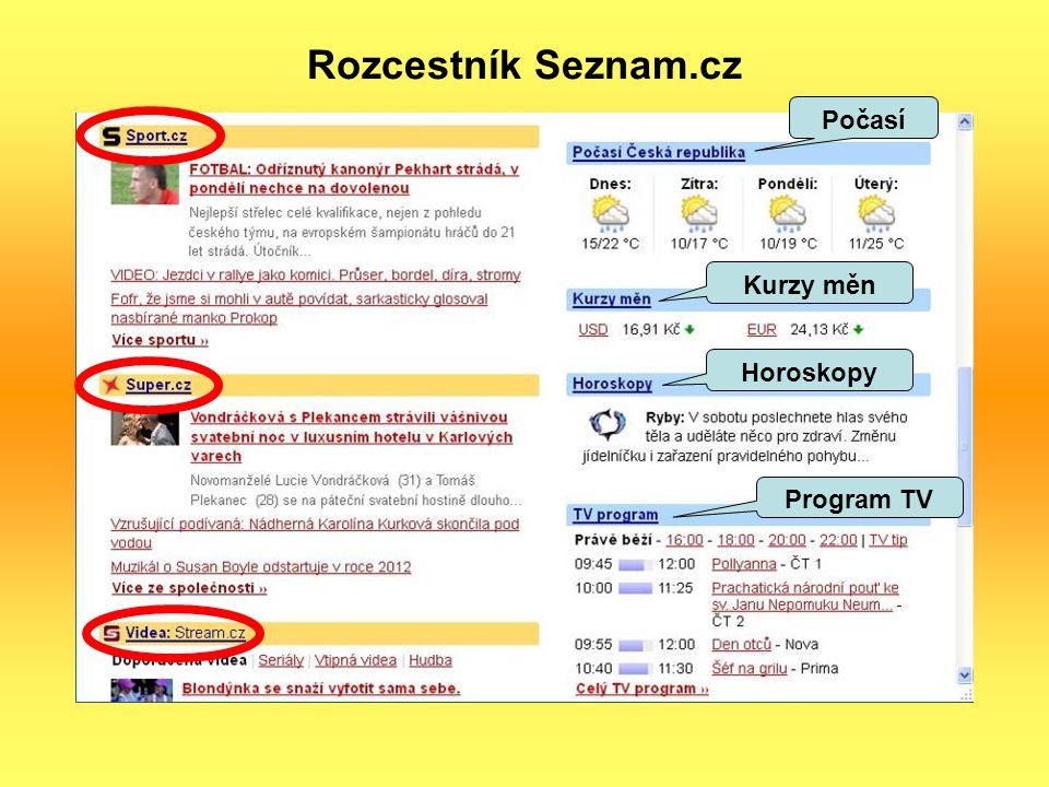 Rozcestník Seznam.cz Horoskopy Počasí Program TV Kurzy měn