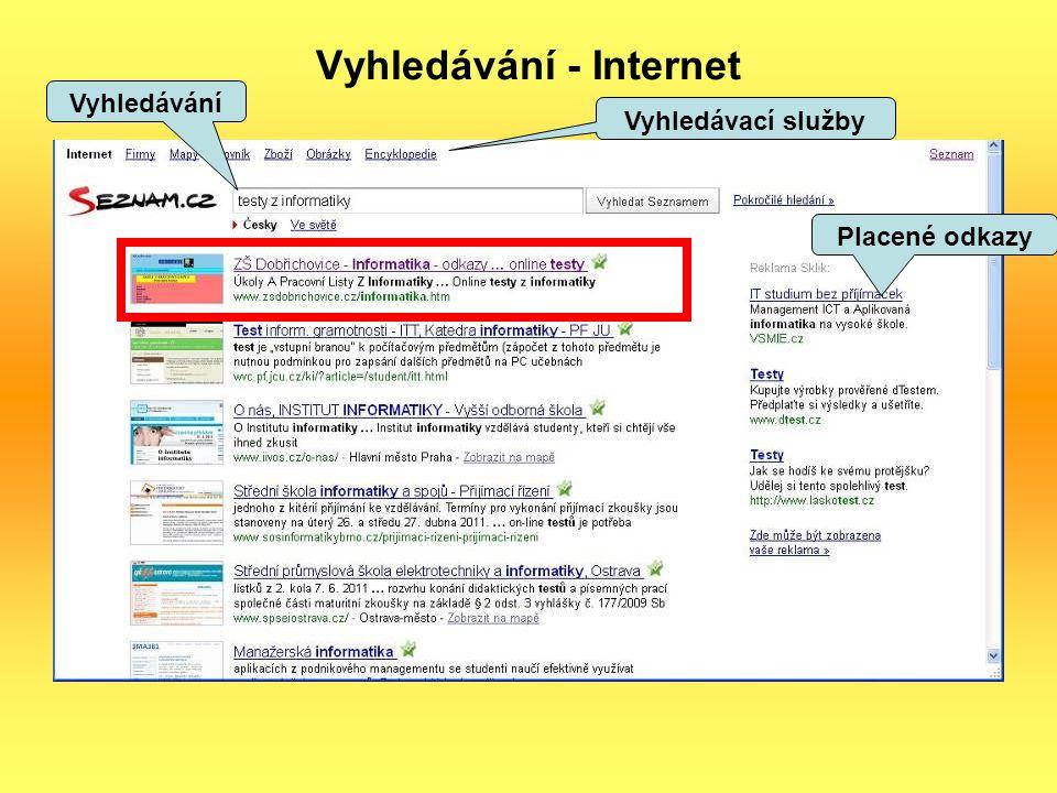 Vyhledávání - Internet Vyhledávání Placené odkazy Vyhledávací služby