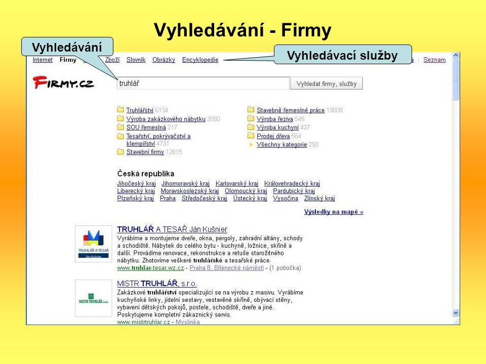 Vyhledávání - Firmy Vyhledávání Vyhledávací služby