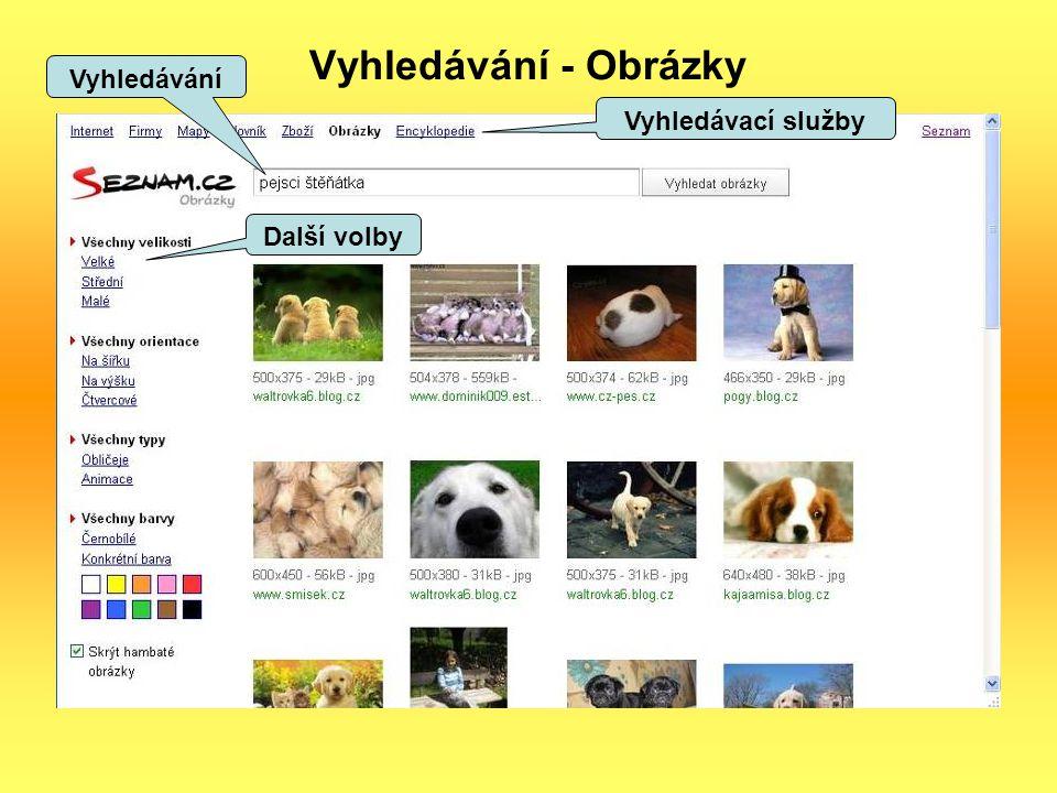 Vyhledávání - Obrázky Vyhledávání Další volby Vyhledávací služby