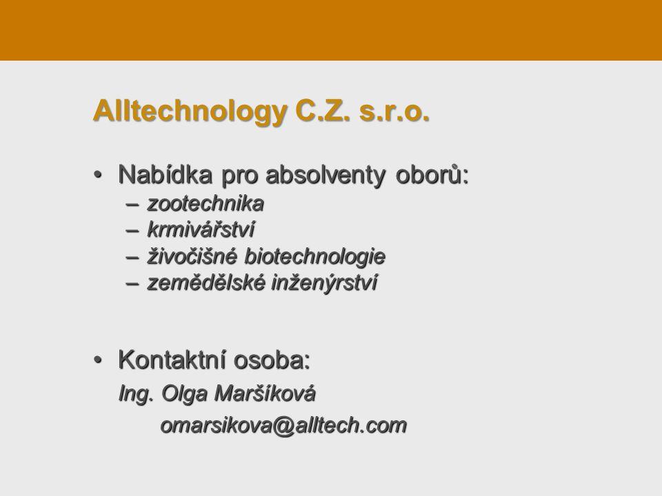 Nabídka pro absolventy oborů:Nabídka pro absolventy oborů: –zootechnika –krmivářství –živočišné biotechnologie –zemědělské inženýrství Kontaktní osoba:Kontaktní osoba: Ing.