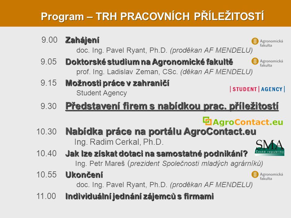 Program – TRH PRACOVNÍCH PŘÍLEŽITOSTÍ 9.00Zahájení doc. Ing. Pavel Ryant, Ph.D. (proděkan AF MENDELU) 9.05Doktorské studium na Agronomické fakultě pro