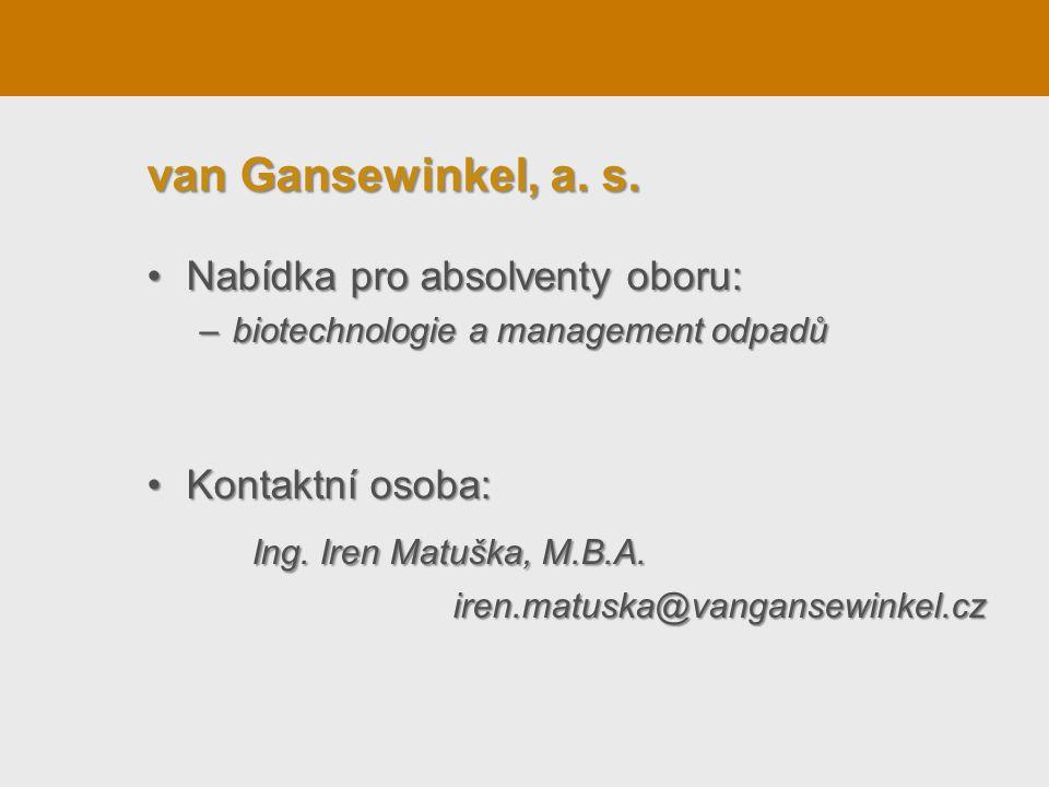 Nabídka pro absolventy oboru:Nabídka pro absolventy oboru: –biotechnologie a management odpadů Kontaktní osoba:Kontaktní osoba: Ing. Iren Matuška, M.B
